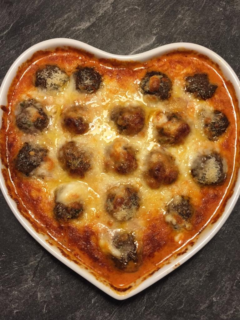 Keto Meatball dish with fresh mozzarella